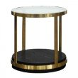 Armen Living Hattie Contemporary End Table in Brushed Gold Finish and Black Wood (LCHTLABL)