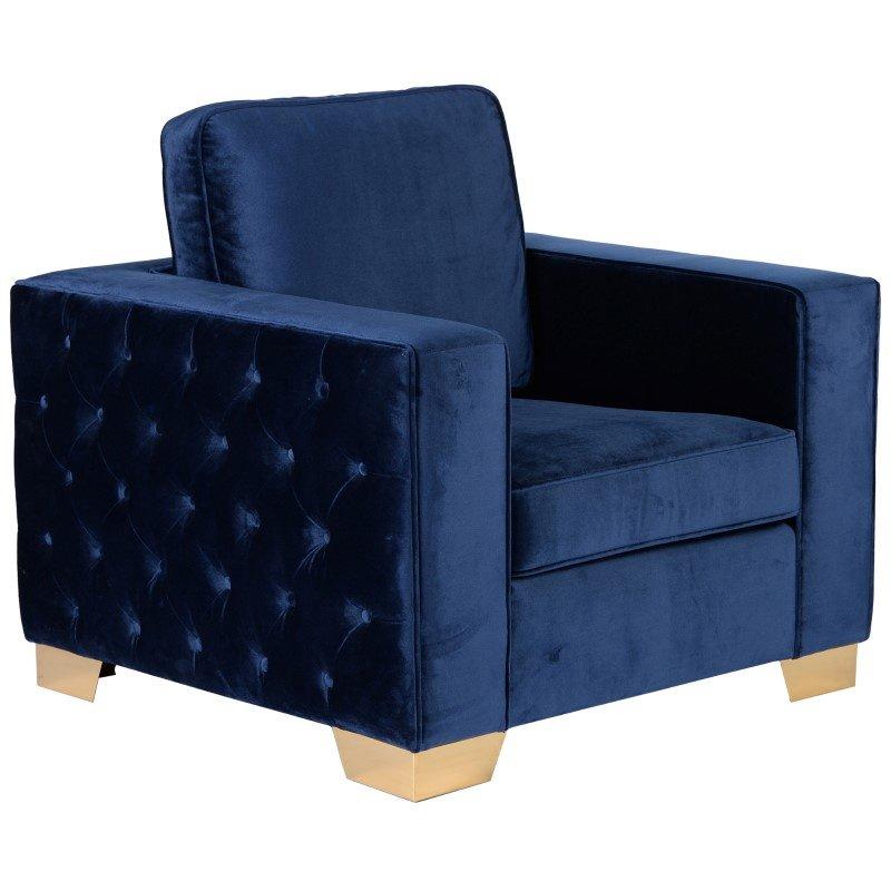 Armen Living Isola Chair in Blue Velvet With Gold Metal Legs