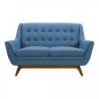 Armen Living Janson Mid-Century Loveseat in Champagne Wood Finish and Blue Fabric (LCJO2BLUE)