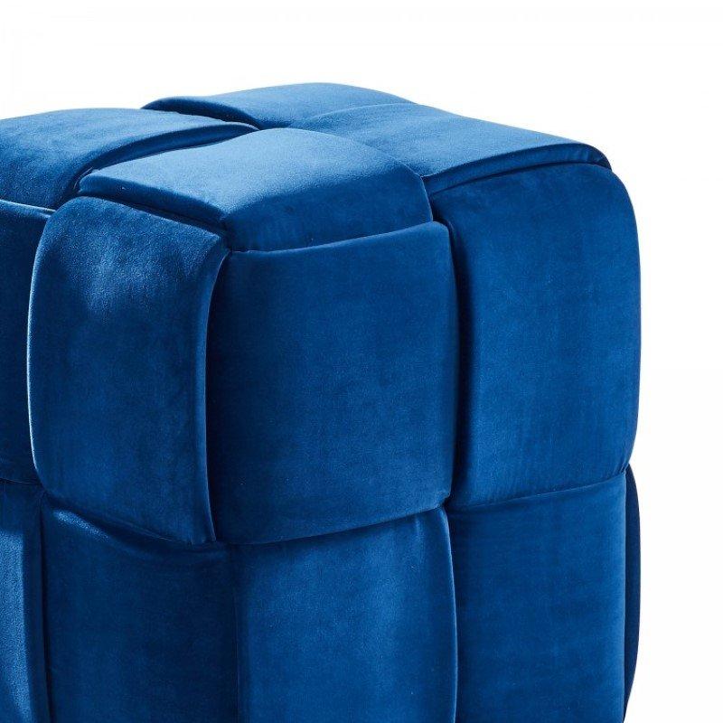 Armen Living Joy Contemporary Short Ottoman in Blue Velvet (LCJYOTBLUE)