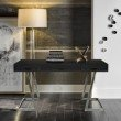Armen Living Juniper Contemporary Desk with Polished Stainless Steel Finish and Black Top (LCJNDEBL)