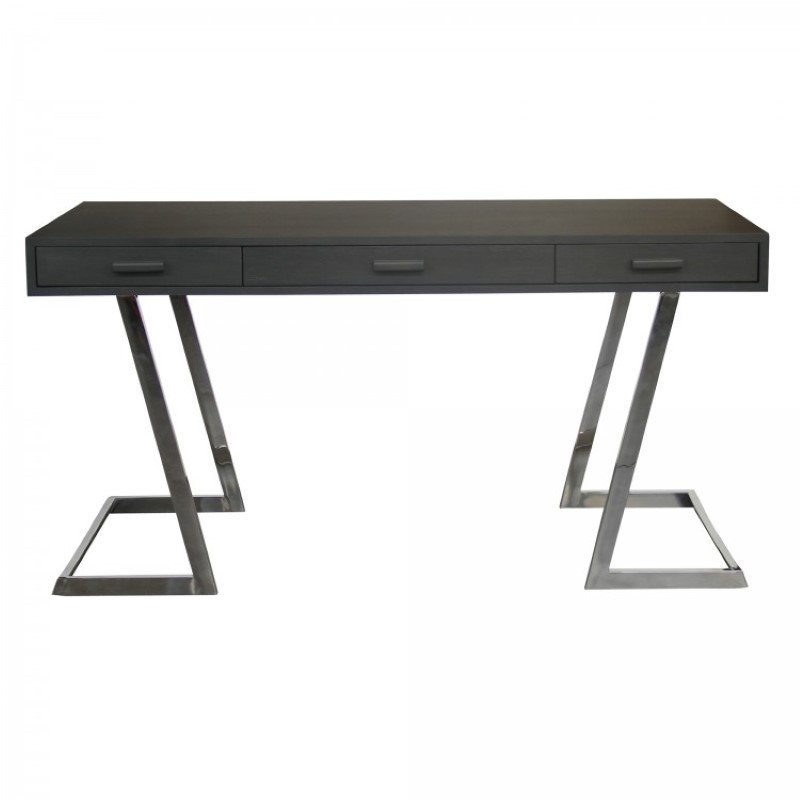 Armen Living Juniper Contemporary Desk with Polished Stainless Steel Finish and Grey Top (LCJNDEGR)