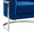 Armen Living Kamila Contemporary Accent Chair in Blue Velvet and Brushed Stainless Steel Finish (LCKMCHBLUE)