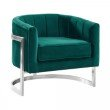 Armen Living Kamila Contemporary Accent Chair in Green Velvet and Brushed Stainless Steel Finish (LCKMCHGREEN)