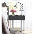 Armen Living Knight Contemporary Lamp Table in Brushed Stainless Steel Finish with Grey Top (LCKNLAGR)