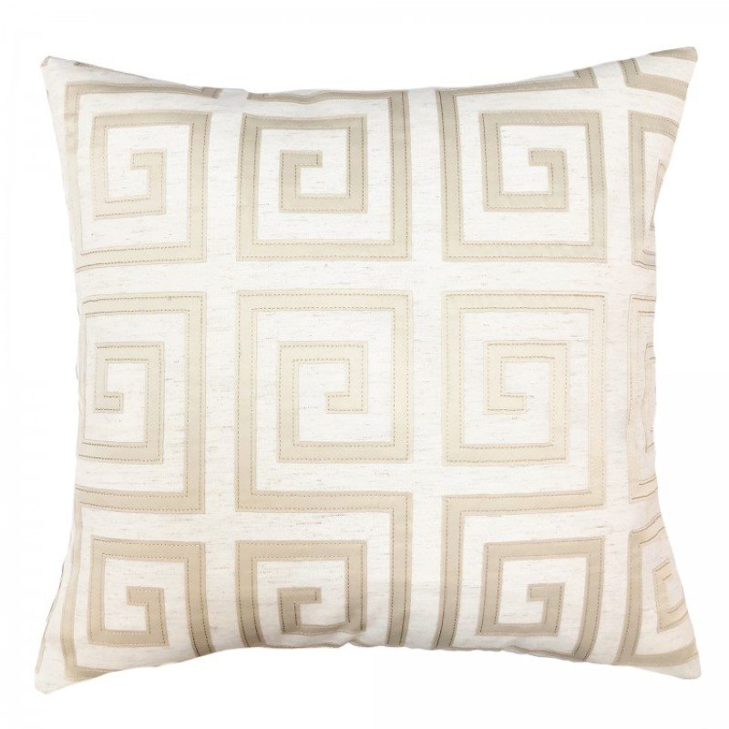 Armen Living Laguna Contemporary Decorative Feather and Down Throw Pillow in Beige Applique Embroidery Fabric (LCPILA20BEIGE)