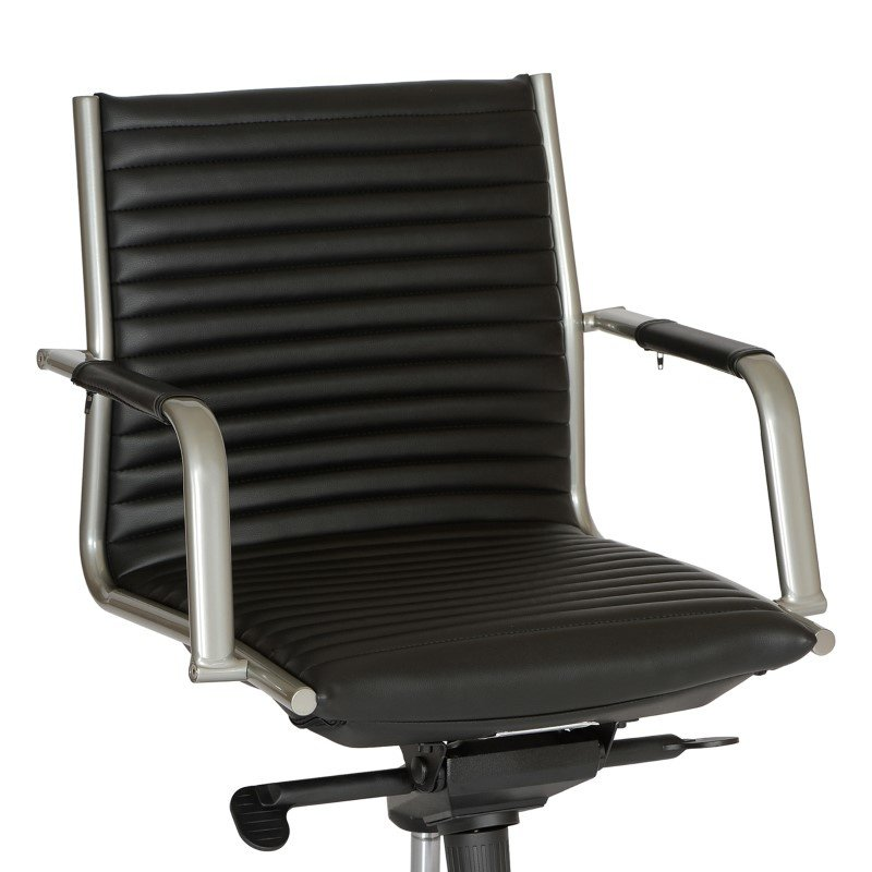 Armen Living Leo Modern Office Chair in Black And Gray Metal