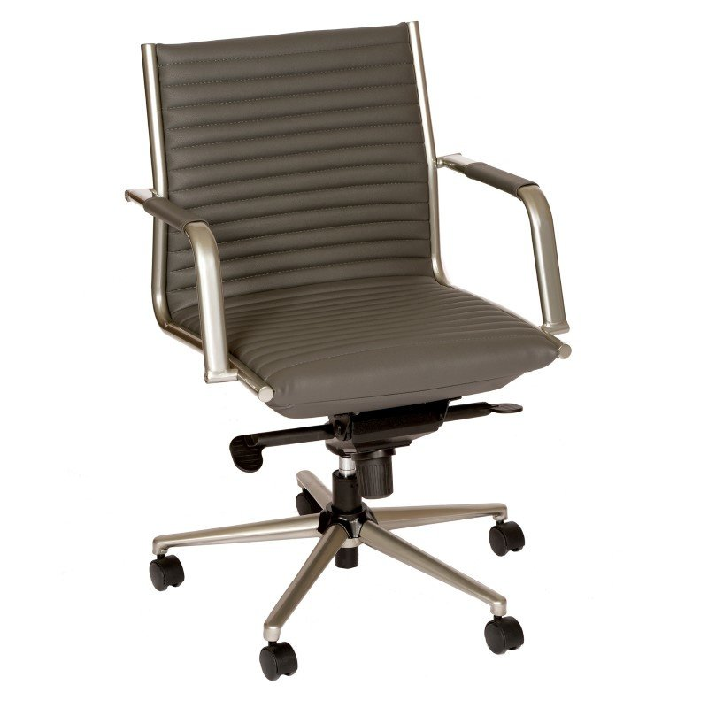 Armen Living Leo Modern Office Chair in Gray And Powder Coated Gray Metal