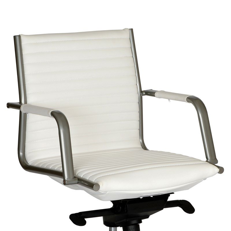 Armen Living Leo Modern Office Chair in White And Powder Coated Gray Metal