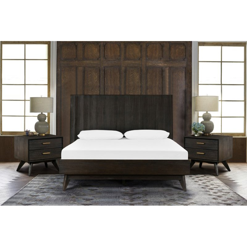 Armen Living Loft 3 Piece Acacia Queen Bed and Nightstands Bedroom Set in Brushed Brown-Gray (SETLFBDQN3A)