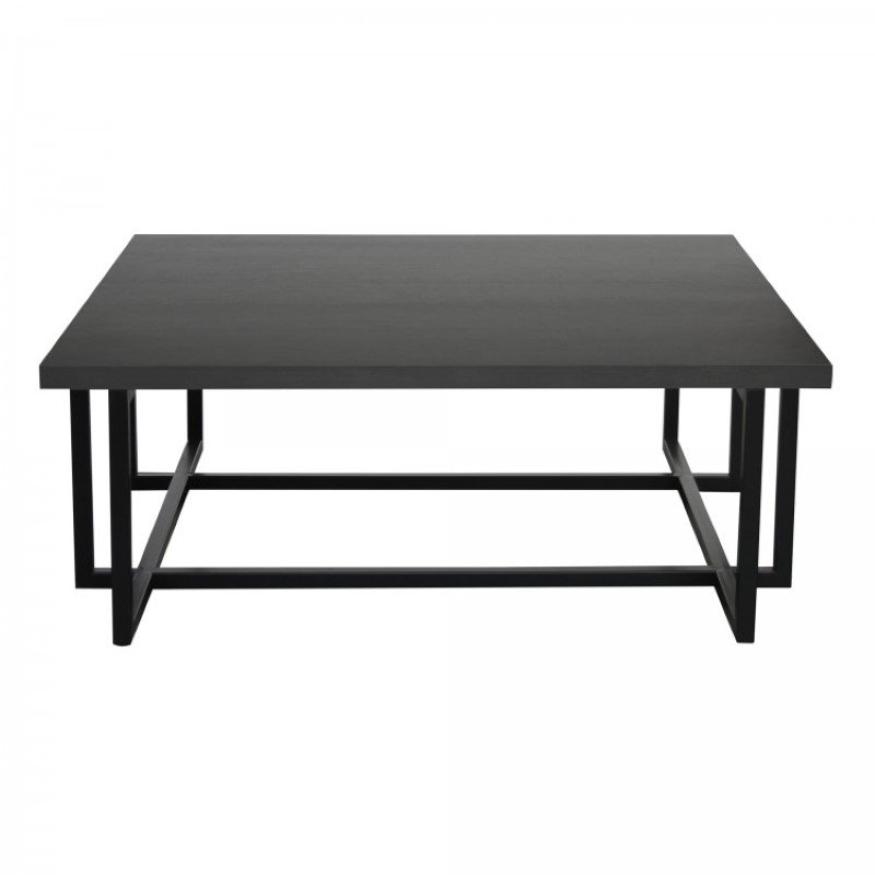 Armen Living Logan Contemporary Coffee Table with Black Iron Finish and Grey Wood Top (LCLGCOGR)