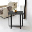 Armen Living Logan Contemporary End Table with Black Iron Finish and Grey Wood Top (LCLGLAGR)