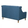 Armen Living Luxe Mid-Century Loveseat in Champagne Wood Finish and Blue Fabric (LCLX2BLUE)