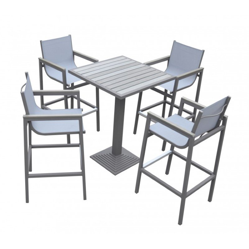 Armen Living Marina Outdoor Patio Set Grey Finish and Grey Wood Top (Table with 4 barstools) (SETODMABTGR)