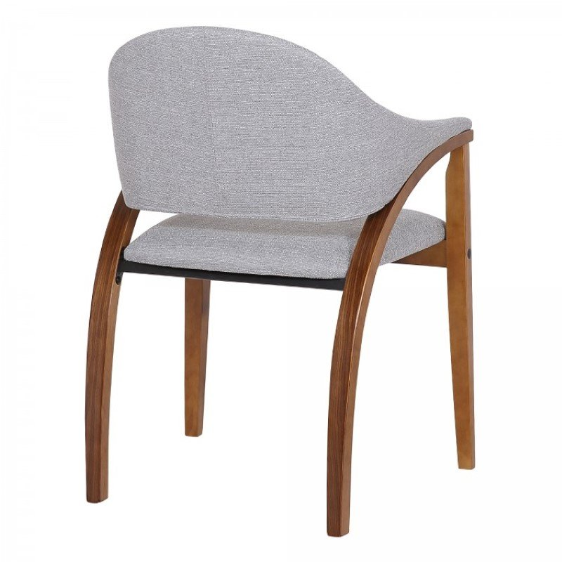 Armen Living Meadow Contemporary Dining Chair in Walnut Wood Finish and Grey Fabric - Set of 2 (LCMWCHWAGR)