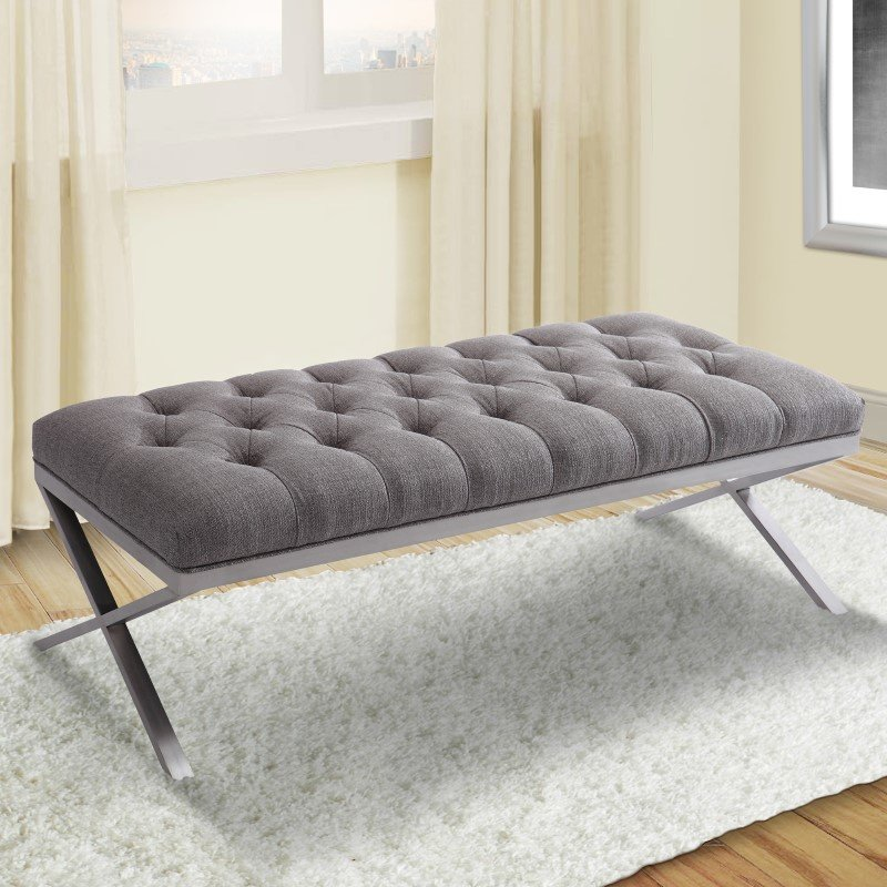 Armen Living Milo Bench in Brushed Stainless Steel Finish with Grey Fabric (LCMIBEGR)