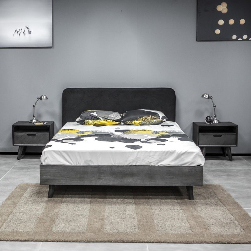 Armen Living Mohave 3 Piece Acacia King Bed and Nightstands Bedroom Set in Tundra Gray (SETMVBDKG3A)