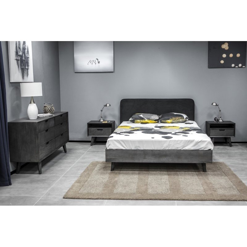 Armen Living Mohave 4 Piece Acacia King Bedroom Set with Dresser and Nightstands in Tundra Gray (SETMVBDKG4A)