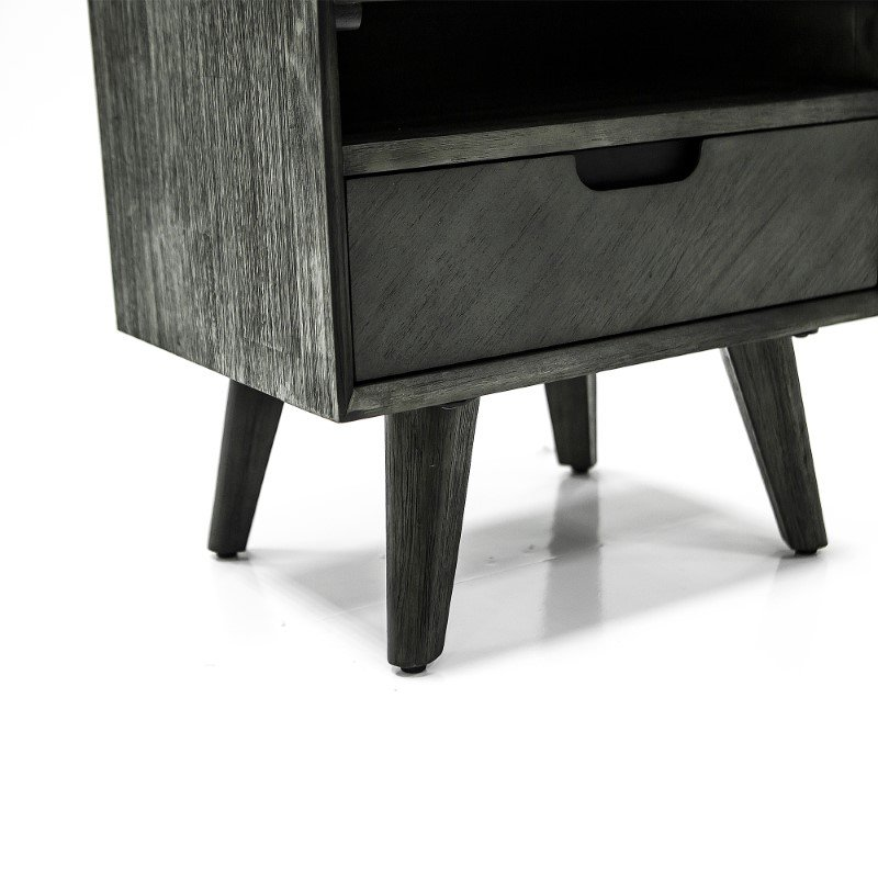 Armen Living Mohave Mid-Century Tundra Grey Acacia Single Drawer Night Stand (LCMOLATG)