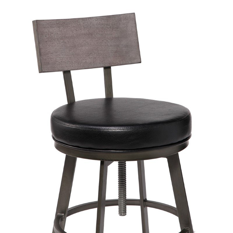 Armen Living Montreal Mid-Century Adjustable Barstool in Mineral Finish with Black Faux Leather and Grey Walnut Wood Finish Back (LCMRBAMFBL)
