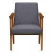 Armen Living Nathan Mid-Century Accent Chair in Champagne Ash Wood Finish and Dark Grey Fabric (LCNTCHGR)
