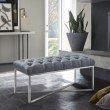Armen Living Noel Contemporary Bench in Slate Grey Linen and Brushed Stainless Steel Finish (LCNLBELISL)