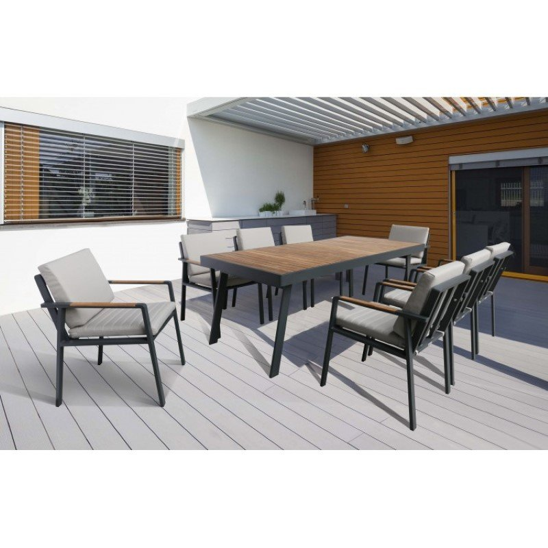 Armen Living Nofi 9pc Outdoor Patio Dining Set in Charcoal Finish with Taupe Cushions (Table with 8 chairs) (SETODNODIBE)