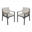Armen Living Nofi Outdoor Patio Dining Chair in Charcoal Finish with Taupe Cushions and Teak Wood Accent Arms - Set of 2 (LCNOCHBE)