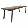 Armen Living Nofi Outdoor Patio Dining Table in Charcoal Finish with Teak Wood Top (LCNODIGR)