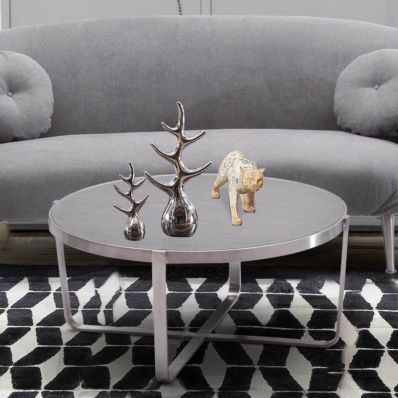 Armen Living Nova Coffee Table in Brushed Stainless Steel with Grey Top