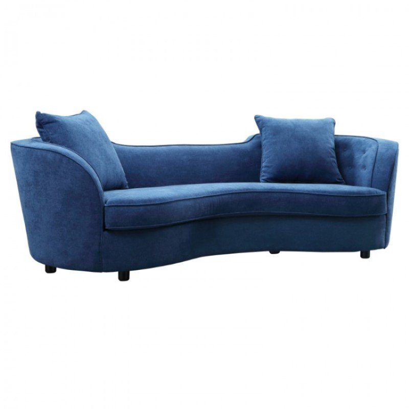 Armen Living Palisade Contemporary Sofa in Blue Velvet with Brown Wood Legs (LCPA3BLUE)