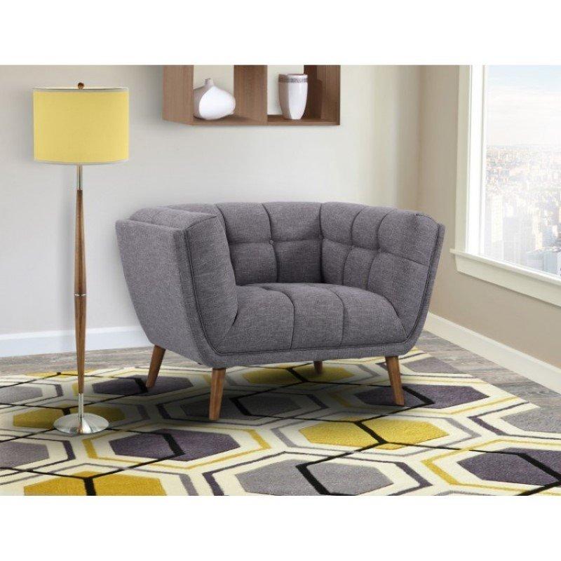Armen Living Phantom Mid-Century Modern Chair in Dark Gray Linen and Walnut Legs (LCPH1DG)