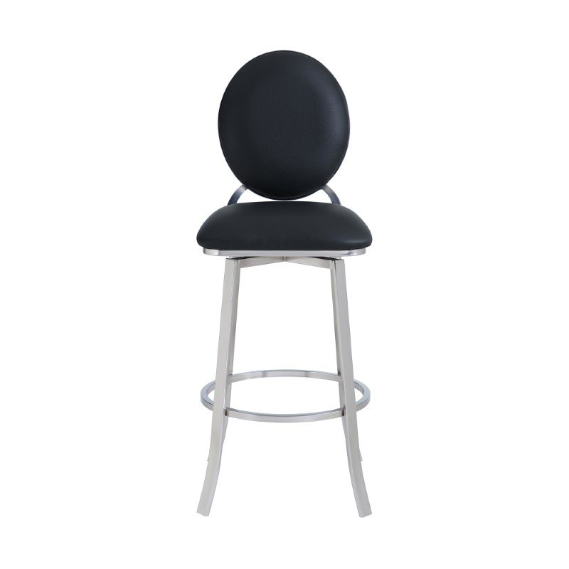 """Armen Living Pia Contemporary 30"""" Bar Height Barstool in Brushed Stainless Steel Finish and Black Faux Leather (LCPABABSBL30)"""