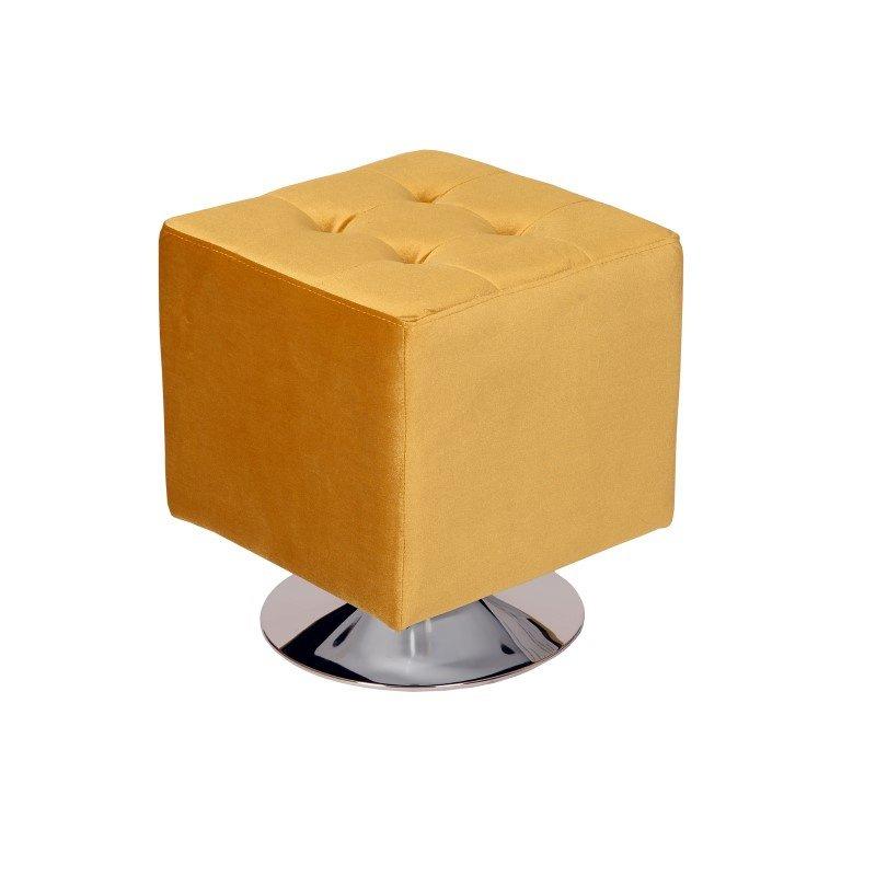 Armen Living Pica Square 360 Degree Swivel Ottoman in Yellow Velvet