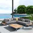 Armen Living Polo 4 piece Outdoor Sectional Set with Dark Gray Cushions and Modern Accent Pillows (SETODPO4SE)