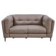 Armen Living Primrose Contemporary Loveseat in Dark Metal Finish and Greige Genuine Leather (LCPR2GR)