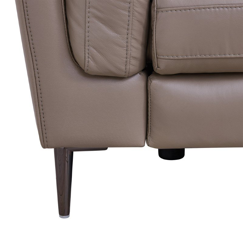 Armen Living Primrose Contemporary Sofa in Dark Metal Finish and Greige Genuine Leather (LCPR3GR)