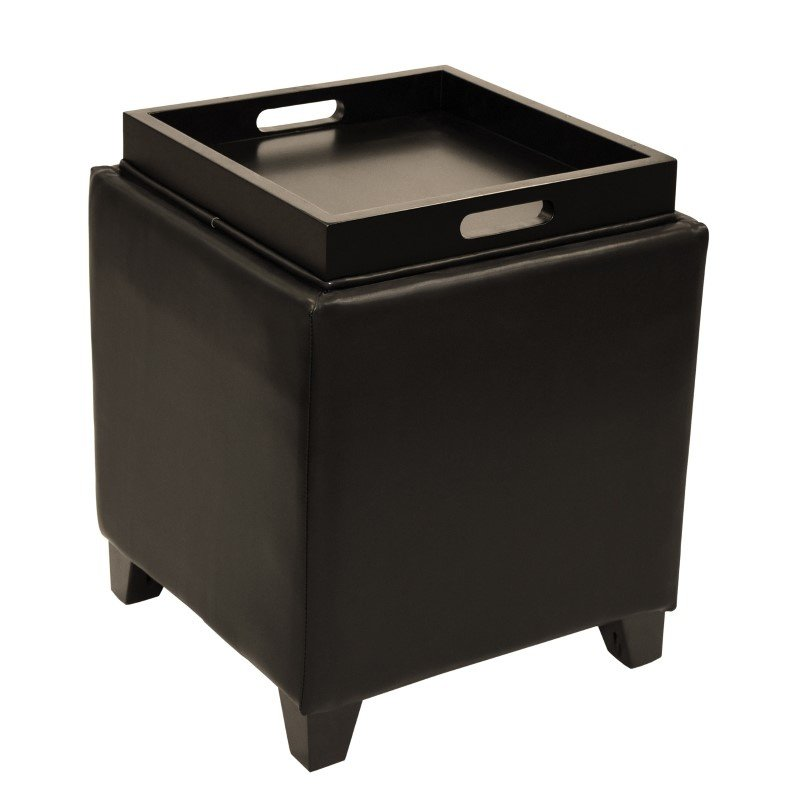 Armen Living Rainbow Contemporary Storage Ottoman With Tray in Brown Bonded Leather (LC530OTLEBR)