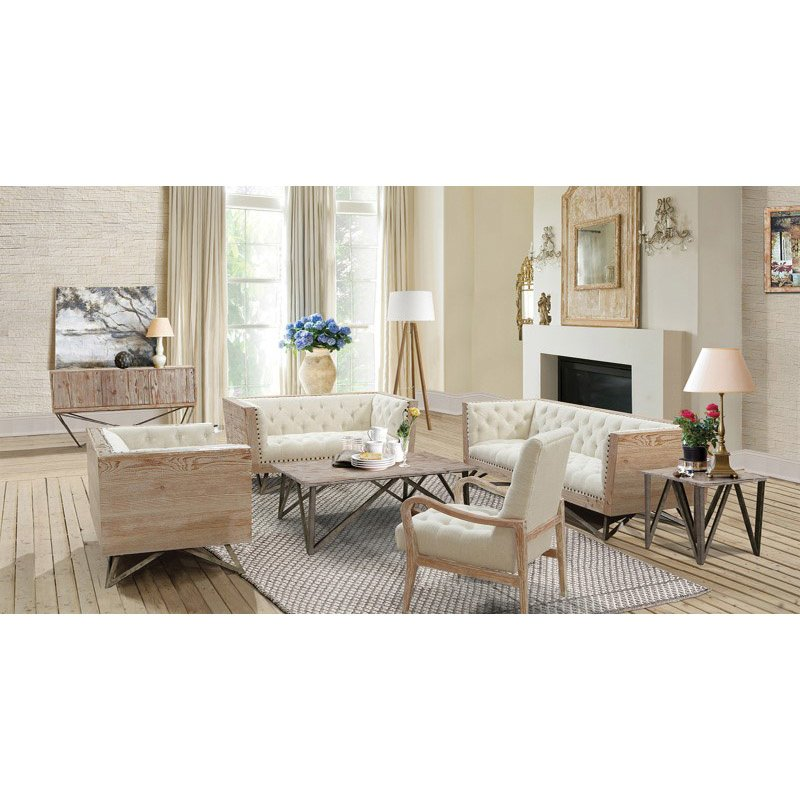 Armen Living Regis Cream Chair With Pine Frame And Gunmetal Legs