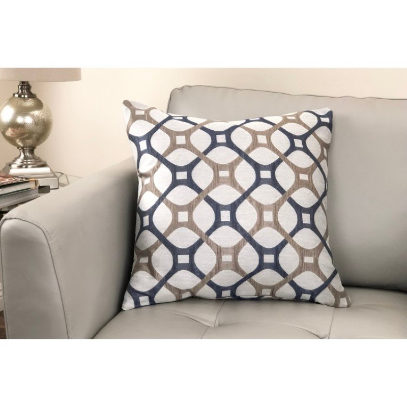 Armen Living Roxbury Contemporary Decorative Feather and Down Throw Pillow in Cobalt Jacquard Fabric (LCPIRO20COBALT)