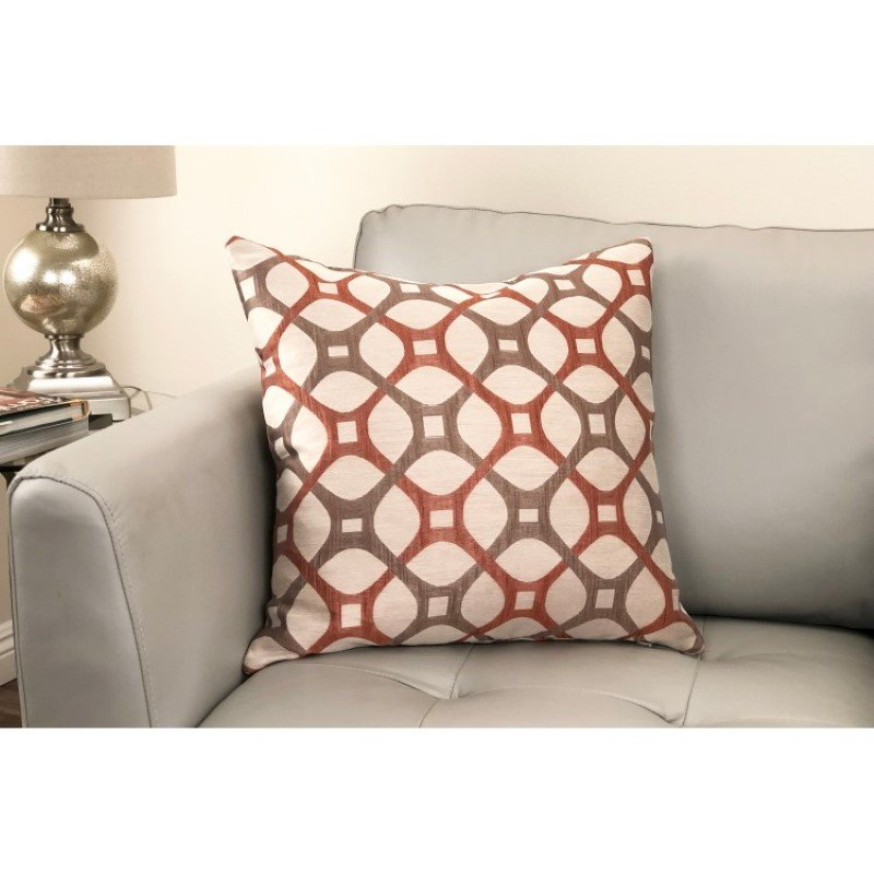 Armen Living Roxbury Contemporary Decorative Feather and Down Throw Pillow in Coral Jacquard Fabric (LCPIRO20CORAL)