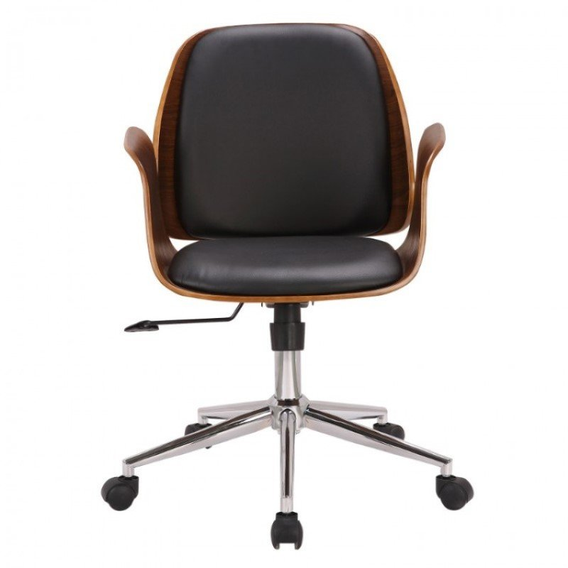 Armen Living Santiago Mid-Century Office Chair in Black Faux Leather with Walnut Wood Finish (LCSGOFCHWABL)