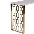 Armen Living Skyline Console Table With White Top in Gold Metal Base