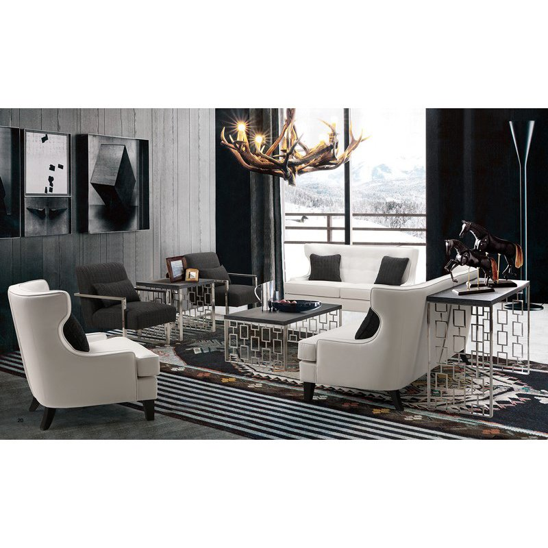 Armen Living Skyline Loveseat In White Bonded Leather (LCSK2WH)