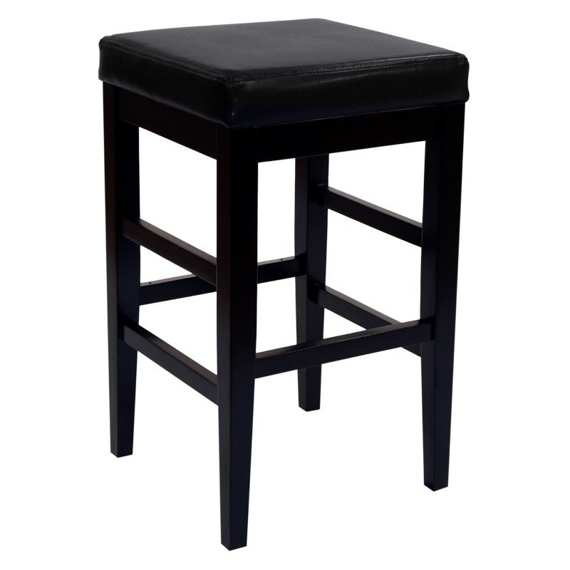 "Armen Living Sonata 30"" Stationary Barstool in Black Bonded Leather"