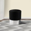 Armen Living Tabitha Contemporary Round Ottoman in Brushed Stainless Steel with Black Faux Leather (LCTBOTBLACK)
