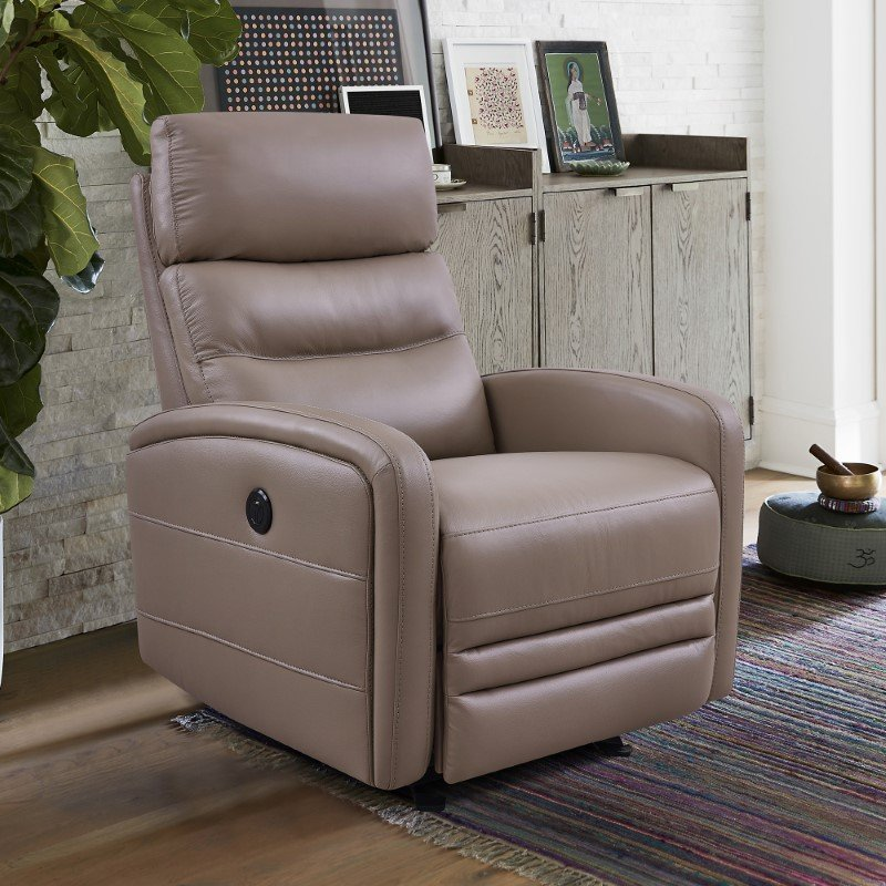 Armen Living Tristan Contemporary Recliner in Greige Genuine Leather (LCTR1GR)