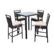 Armen Living Tropez Outdoor Patio Wicker Bar Set (Table with 4 barstools) (SETODTRBE)