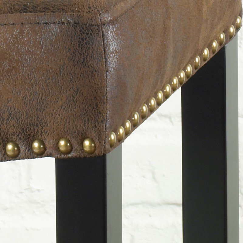 """Armen Living Tudor 30"""" Backless Stationary Barstool in Wrangler Brown Fabric with Nailhead Accents (LCMBS013BAWR30)"""