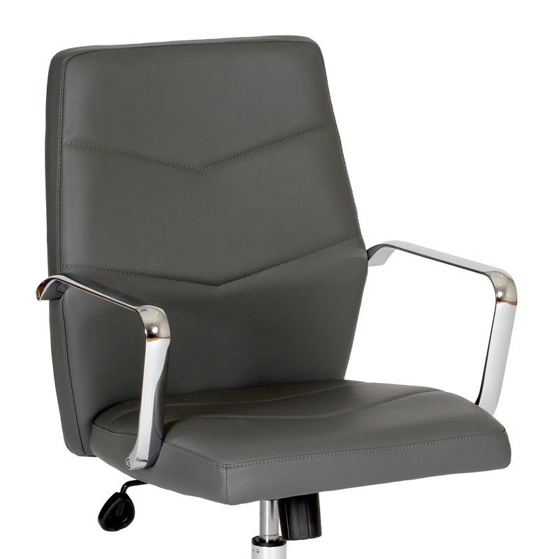 Armen Living Viken Contemporary Office Chair in Gray And Chrome